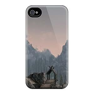 New Design Shatterproof MxF8025yAvH Cases For Iphone 4/4s (skyrim The Whiterun Mountains)