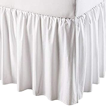 Scala White Solid 700-Thread-Count Split Corner Ruffle Bed Skirt Egyptian Cotton, Full (54-Inch X 75-Inch), Drop Length 13-Inch