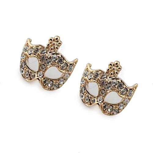 Garrelett Crystal Earrings, 4 Pairs Retro Fox Mask Flower Full Rhinestone Opera Masquerade Mask Earrings Studs for Women Ladies Girls ()
