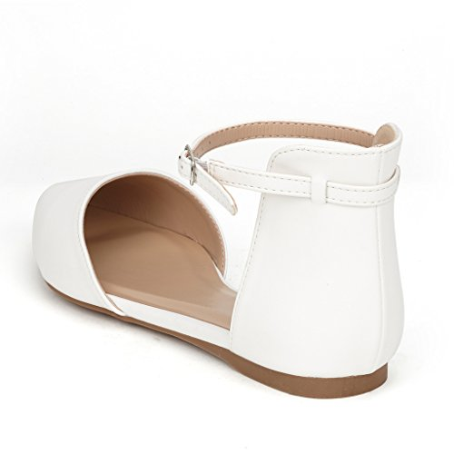 Sueño Pares Flapointed Mujeres Casual Dorsay Pointed Ballet Llano Comfort Soft Slip On Flats Zapatos Nuevo Tobillo - Blanco-pu