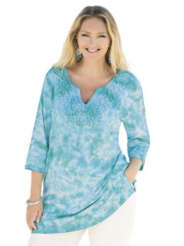 Ulla Popken Plus Size Kona Tie Dye Knit Tunic - Sea, 28/30