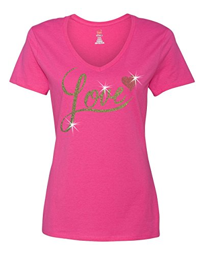 Valentine Gold Glitter Love Red Heart Womens T - Shirt Top Pink 2XL