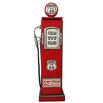 Armoire pour CD/DVD Rétro Vintage Motif pompe à essence de la Route 66 Rouge