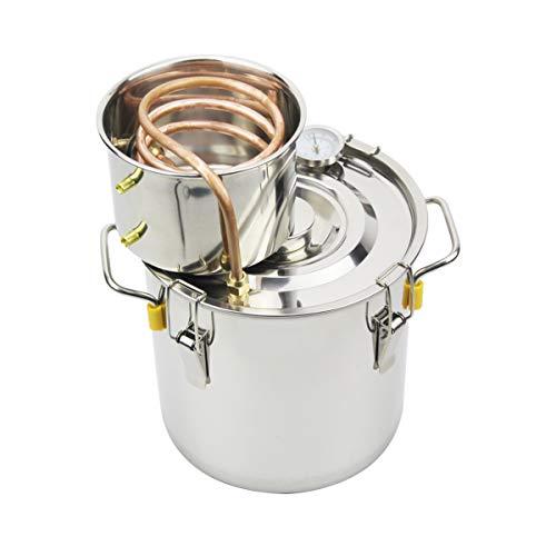 (BACOENG 3Gal/12L Moonshine Still Spirits Water Alcohol Distiller Copper Tube Home Brew Wine Making Kit Stainless Steel Boiler )