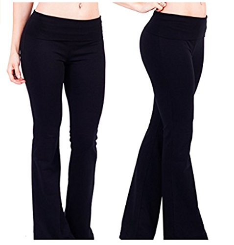 Hollywood Star Fashion Foldover Contrast Waist Bootleg Flare Yoga Pants (X-Large, 2pack-blacky)