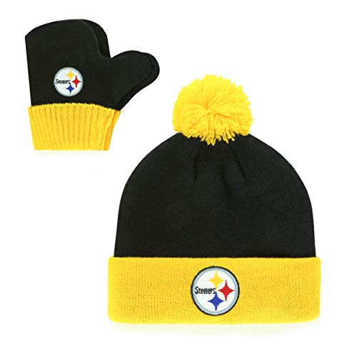 OTS NFL Pittsburgh Steelers Pow Knit Cap & Mittens Set, Black, Infant