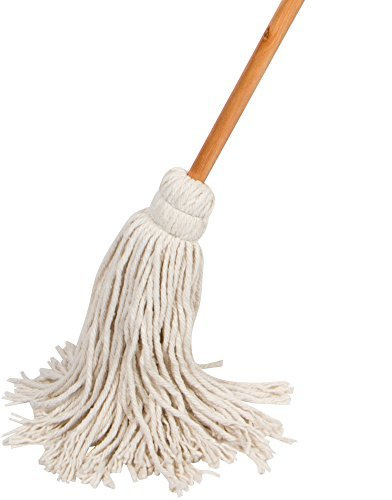 American Market Light Duty Wet Deck Cotton Mop with Solid Wood Handle (8 Oz, White)