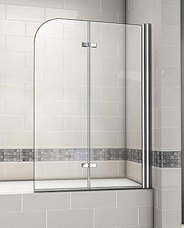 Aica 1200 x 1400 mm 180 Degree Pivot mampara de baño con bisagra EasyClean Vidrio Templado de 6 mm, de Metal, Cromado, 120 x 2,6 x 140 cm: Amazon.es: Hogar