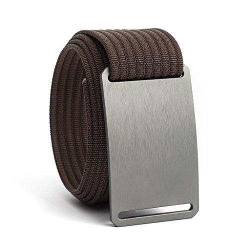 Men's Web Belt GRIP6 (42in Gunmetal w/Mocha Strap) (Belt Strap Brown)