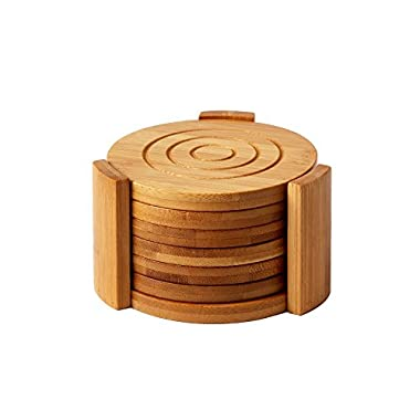 Heavy Duty Bamboo Coaster Set With 7 Coasters and Custom Holder 4.3  x 4.3  x 2.7