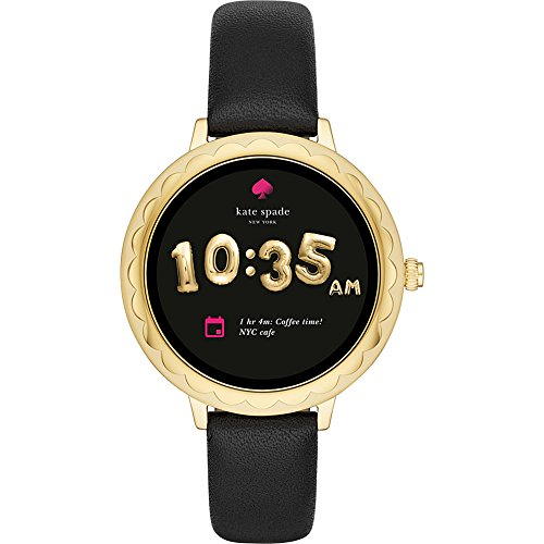 kate spade watches Gold-Tone and Black Leather Scallop Touchscreen Smartwatch