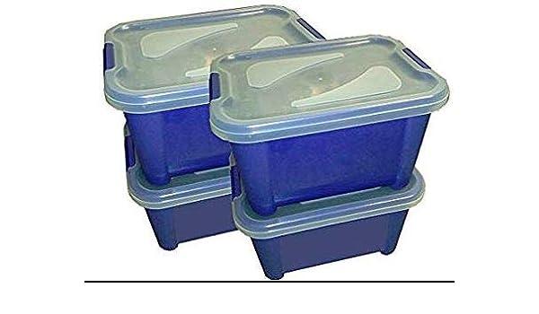 PAMPOLS Cajas de pl/ástico para almacenaje con Tapa Transparente. Pack de 4 Cajas + 4 Tapas