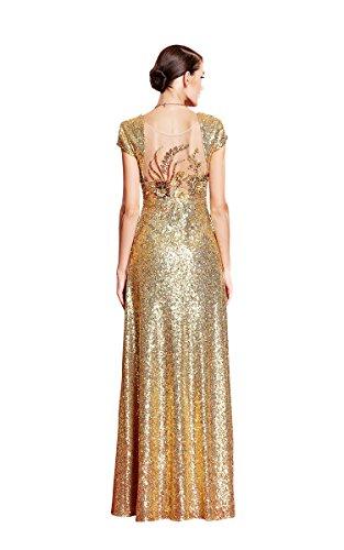 Through mit Beauty Pailletten V FlügelOhne Gold mit Ausschnitt Linie Emily A Abendkleid Armn See Applikation gfwfI8q