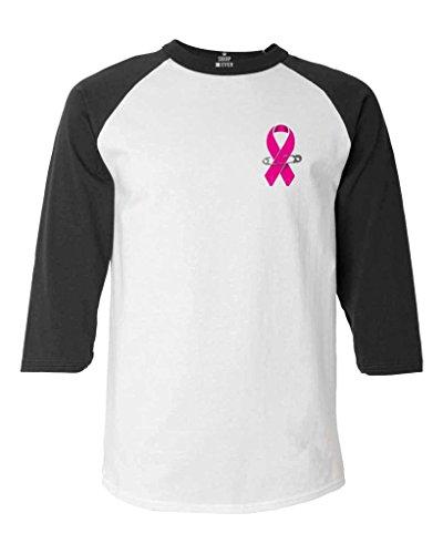Pink Ribbon Pin Baseball Shirt Breast Cancer Awareness Raglan ShirtMedium White/Black 18462
