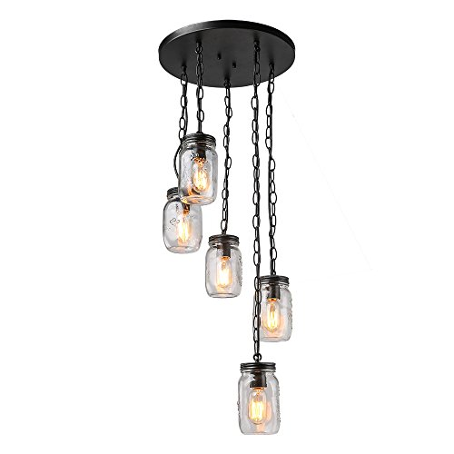 LNC 5-Light Chandelier Lighting Spiral Glass Mason Jar Ceiling Light Linear Kitchen Island Lighting (Light Spiral Billiard)