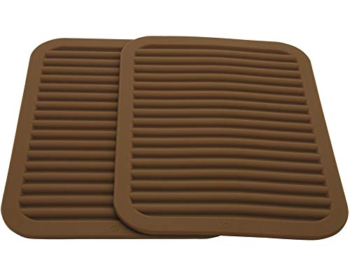 Lucky Plus Silicone Hot Mats and Trivets for Hot Dishes and Hot Pots, Hot Pads for Countertops, Tables, Pot Holders, Spoon Rest Small Drying Mats Set of 2 Color Brown