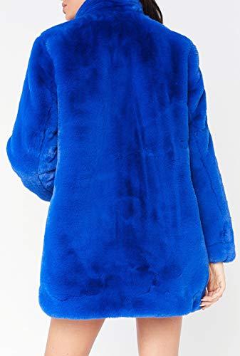 Felpa In Faux Peluche Oversize Fur Maniche Lunghe Blackmthth Blu Fashion WBg01cnca
