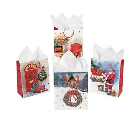 .12 Christmas Vintage Holiday Gift Bags - medium