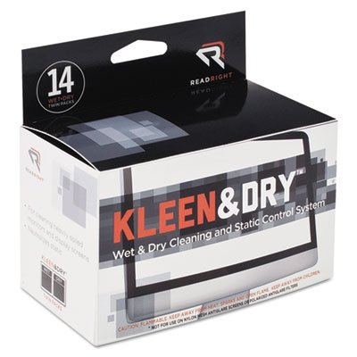 (Read/Right Products - Kleen and Dry Pads, for Screen, Twin Packs, 14/BX - Sold as 1 BX - Kleen and Dry Screen Cleaning Pads offer a highly efficient, two-part method for cleaning and controlling static on terminal and display screens. One packet contains)