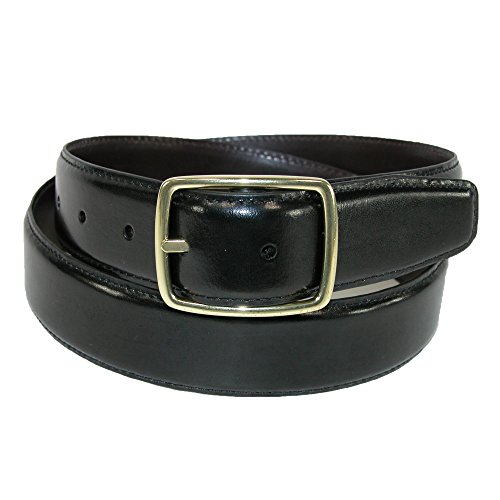 Aquarius Men's Leather Reversible Belt with Gold Center Bar Buckle, 38, Black to Brown