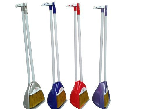 Strong Plastic Pyramid Garden Kitchen Long Handled Dustpan And Brush (Choose Your Colour) (Blue)