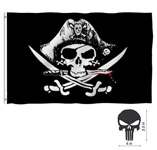 (TOWEE Pirate Flags, 3 x 5 Ft 100% Polyester Captain Jack's Skull Banner Flag Jolly Roger Flags with Metal Rings for Sailing, Boating, Garden, Bar, Ghost House, KTV, Halloween and Christmas Flag)