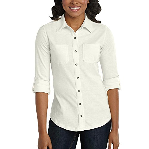 Carhartt Women's Medina Knit Button Down Shirt, Marshmallow, Medium (Knit Cotton Button)