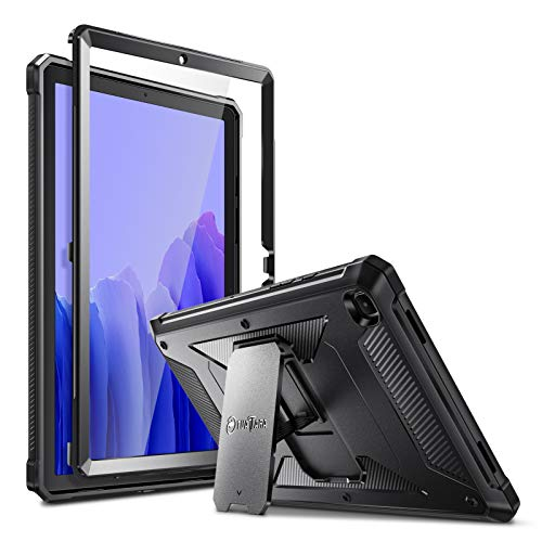 Fintie Shockproof Case for Samsung Galaxy Tab A7 10.4'' 2020 Model (SM-T500/T505/T507), Rugged Unibody Hybrid Full Protective Bumper Kickstand Cover with Built-in Screen Protector, Black