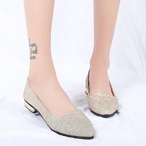 Longra On Pointed Gold Slip Shoes Shallow Flat Low Sequins Shoes Party Shoes Women's Heel Single Ladies rZnCrx
