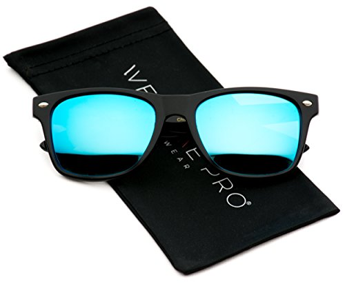 Polarized Flat Mirrored Reflective Color Lens Large Horn Rimmed Style Sunglasses (Mirrored Blue) ()