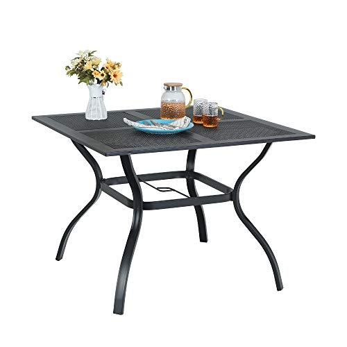 Outdoor Dining Table Patio Square Metal Table with Umbrella Hole for Garden Lawn 37″x 37″ Powder-Coated Weather Resistant Table Black