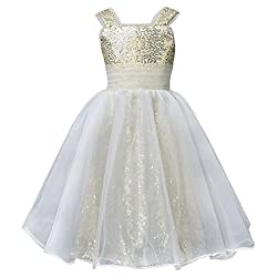 Long Sequin Flower Girl's Dresses