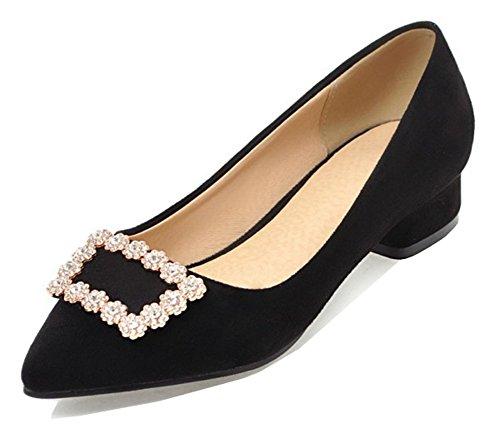 Aisun Women's Comfort Low Cut Rhinestone Pointed Toe Low Chunky Heel Dressy Slip On Pumps Shoes (Black, 10 B(M) US)
