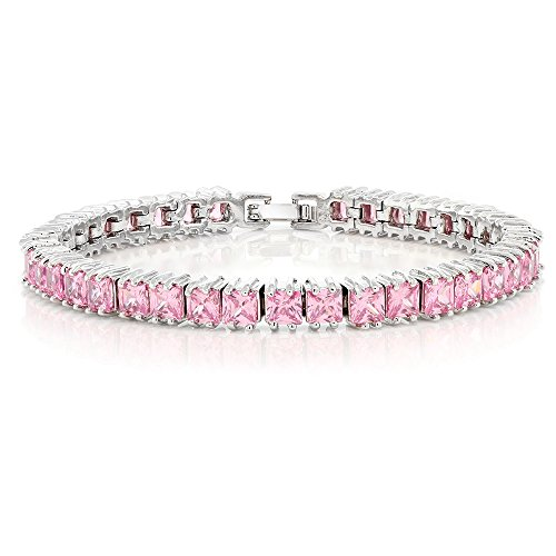 Gem Stone King 15.00 Ct Sparkling Princess Cut Cubic Zirconia CZ Tennis Bracelet 7 Inch