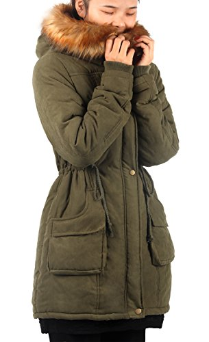 Jackets Fur Faux Womens Green Overcoats iLoveSIA Parkas Lined Coats wTqWId0