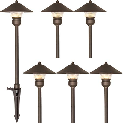 Hykolity 6 Pack Bronze Low Voltage LED Landscape Pathway Light, 3W 150LM 12V Wired for Outdoor Yard Lawn, Die-cast Aluminum Construction, 30-Watt Equivalent 15-Year Lifespan