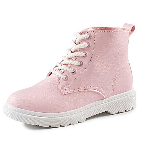 HSXZ Zapatos de mujer cuero Nappa Otoño Invierno botas botas de combate bajo el talón puntera redonda Mid-Calf botas para Casual Rosa Negro Blanco Pink
