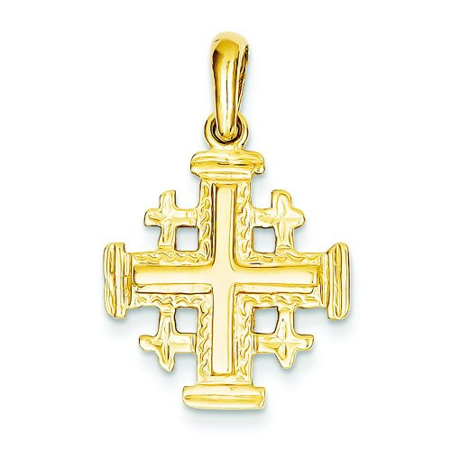 14K Yellow Gold Jerusalem Cross Pendant Charm 14k Yellow Gold Jerusalem Cross