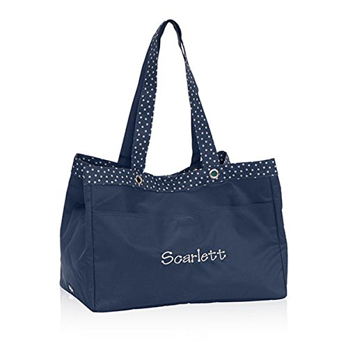 Thirty One Soft Utility Tote In Navy Dancing Dot - No Monogram - 4942