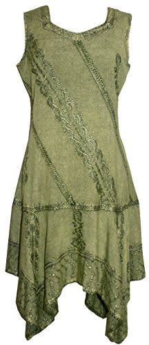 Short Peasant Asymmetrical Traders Green Womens 1015 DR L Agan Gypsy Funky Dress Hem zUwx4U