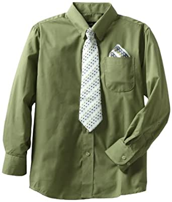 American Exchange Little Boys' Little Dress Shirt With Tie And Pocket Square, Hunter, 1