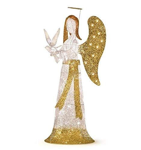 Outdoor Lighted Christmas Angel With Dove