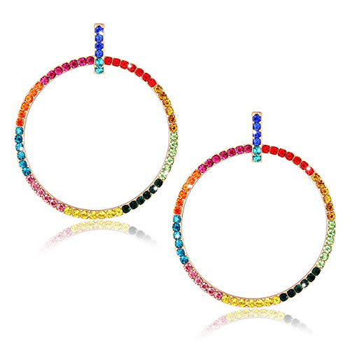 ELEARD Hoop Earrings Pave Crystal Bar Stud Hoop Drop Earrings Ear Dangle Fashion Jewelry (A Rainbow) ()