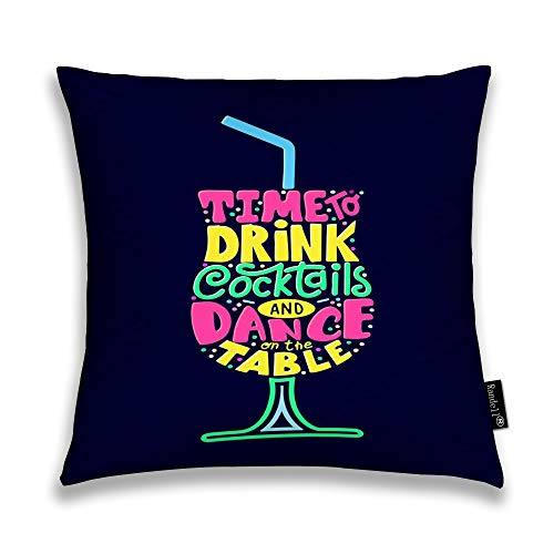 Throw Pillow Covers Quote Bar Menu Alchohol Party Cocktail Home Decorative Throw Pillowcases Couch Cases 24