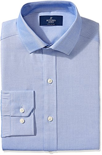 Buttoned Down Men's Non-Iron Fitted Spread-Collar Solid Dress Shirt, Blue, 20