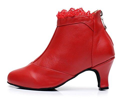 Tda Qj7018 Vrouwen Lace-up Mesh Salsa Tango Ballroom Latin Bruiloft Dansschoenen 6 Cm Rood-leer