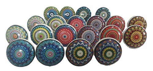 JGARTS 20 Mix Colorful Rare Vinatge Look Mixed round flower shape Ceramic pottery Door knobs Cabinet Handle Cupboard Pulls Drawer puller knob (Drawer Pulls Flower)