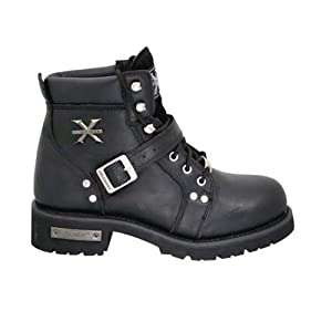 Xelement 2469 Womens Black Advanced Lace Up Motorcycle Biker Boots - 7 1/2