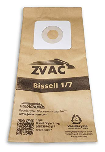 ZVac 15Pk Compatible Vacuum Bags Replacement for Bissell Style 1 & 7 Vacuum Bags. Replaces Parts# 840-9, 840 Fits: Bissell 3525, 3591, 3593, 6590, 71Y7, 46E5 Series by ZVac