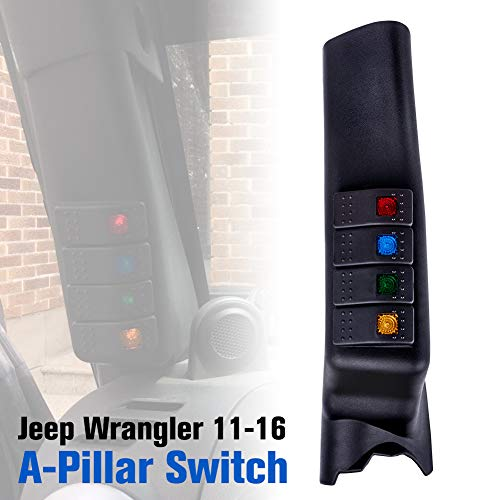 Liteway Black A-Pillar Switch Left Hand Pod Panel 4 LED Rocker Switch for Jeep Wrangler JK 11-16 (left-hand-drive model), 2 Years Warranty